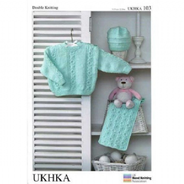 Baby Sweater , Hat & Scarf DK Knitting Pattern UKHKA 103